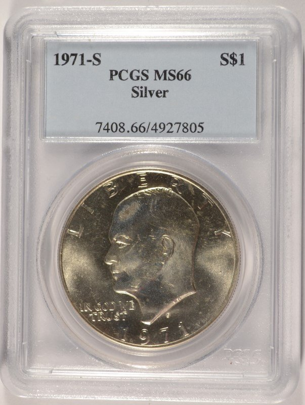 1971-S SILVER EISENHOWER DOLLAR, PCGS MS-66