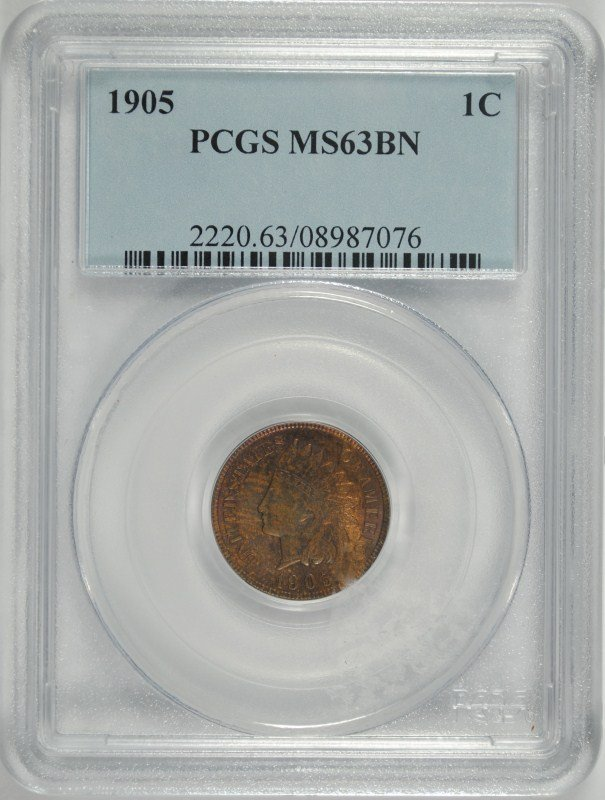 1905 INDIAN HEAD CENT, PCGS MS-63 BN
