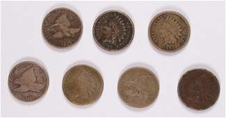 LOT OF  7  INDIAN HEAD CENTS  FLYING EAGLE CENTS