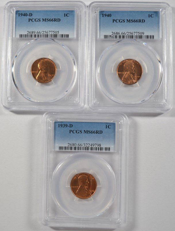 1939-D, 40 & 40-D LINCOLN CENTS, PCGS MS-66 RED