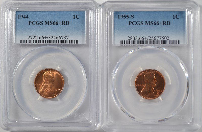 1944 & 1955-S LINCOLN CENTS, PCGS MS-66+ RED