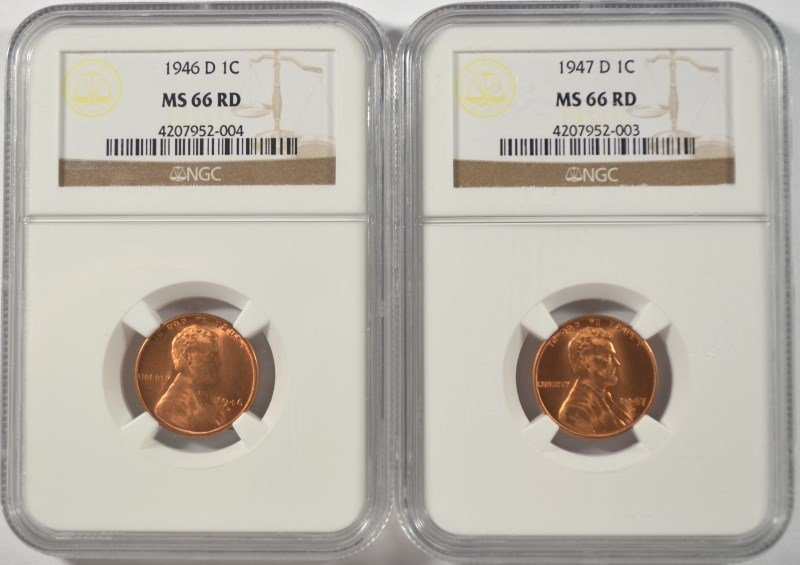 1946-D & 1947-D LINCOLN CENTS, NGC MS-66 RED