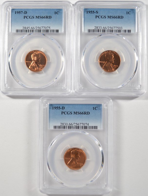1955-D , 55-S & 1957-D LINCOLN CENTS, PCGS MS-66 RED