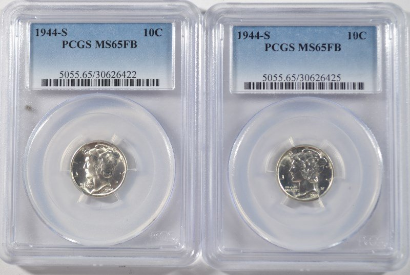 ( 2 ) 1944-S MERCURY DIMES, PCGS MS-65 FULL BANDS