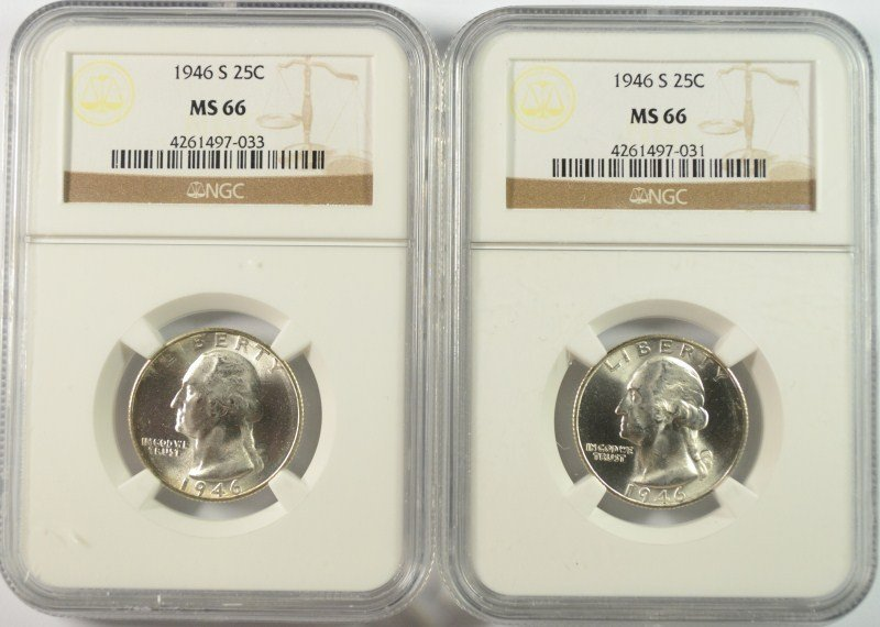 LOT OF (2 ) 1946-S WASHINGTON QUARTERS, NGC MS-66