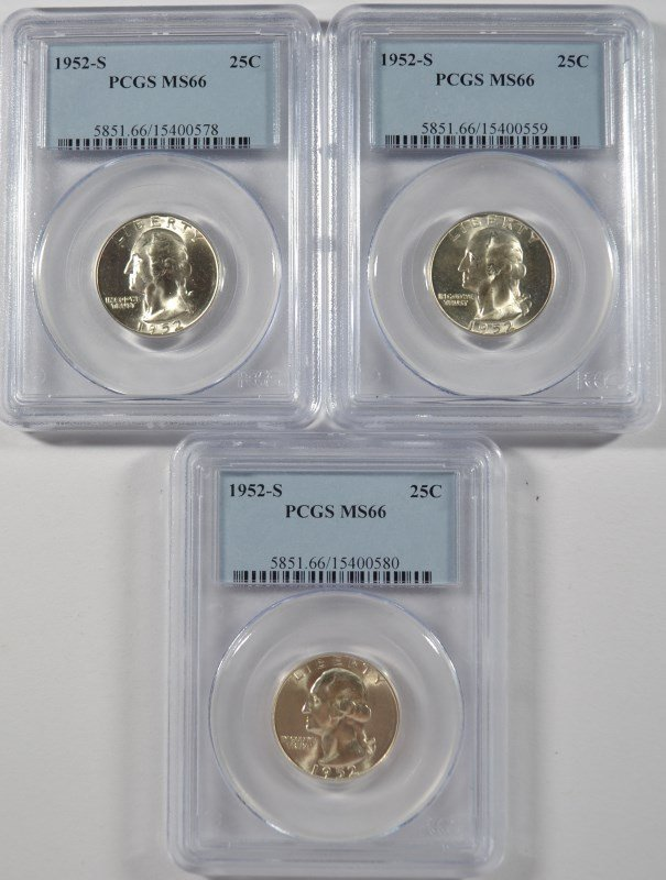 LOT OF ( 3 ) 1952-S WASHINGTON QUARTERS, PCGS MS-66