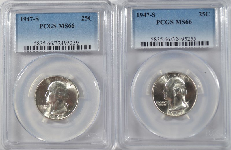 ( 2 ) 1947-S WASHINGTON QUARTERS, PCGS MS-66 SUPERB!