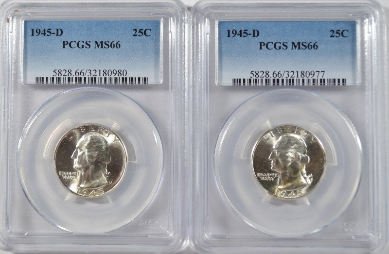 ( 2 )  1945-D WASHINGTON QUARTERS, PCGS MS-66 SUPERB