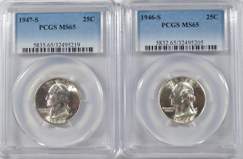 1946-S & 1947-S WASHINGTON QUARTERS, PCGS MS-65
