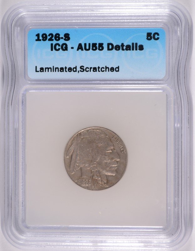 1926-S BUFFALO NICKEL ICG AU-55 DETAILS