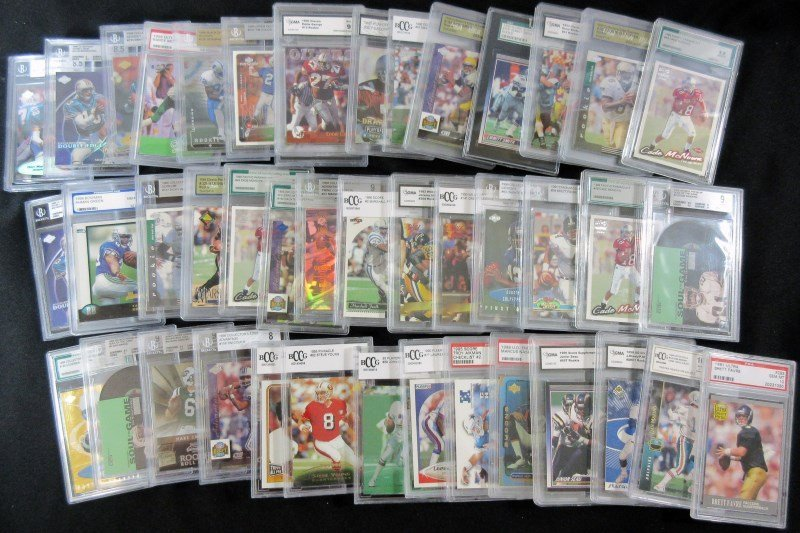 43 GRADED NFL FOOTBALL CARDS - ALL FROM 1990's - PSA -
