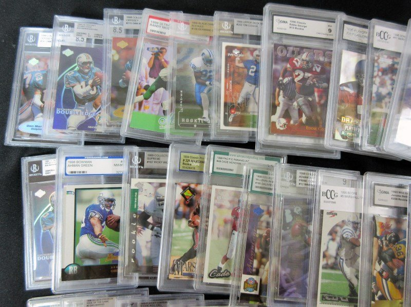 43 GRADED NFL FOOTBALL CARDS - ALL FROM 1990's - PSA - - 2