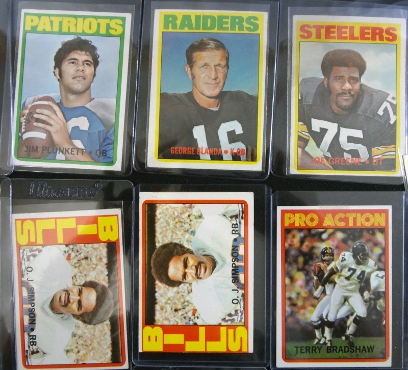 46 - 1972 TOPPS FOOTBALL CARDS - MOSTLY STARS - AVG EX - 3