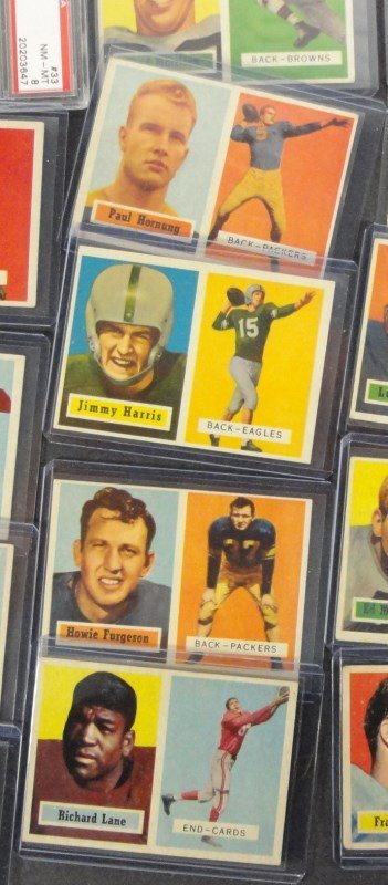 23 - 1957 TOPPS FOOTBALL CARDS, HORNUNG, MOORE, - 2