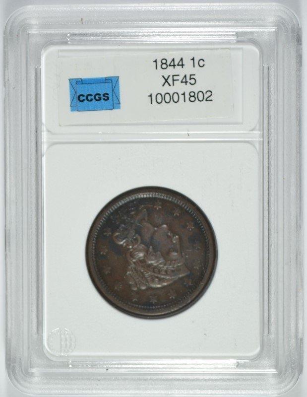 1844 LARGE CENT, CCGS XF/AU-45