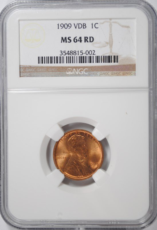 1909 VDB LINCOLN CENT, NGC MS-64 RED!