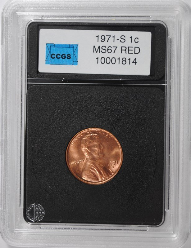 1971-S LINCOLN CENT, CCGS MS-67 RED