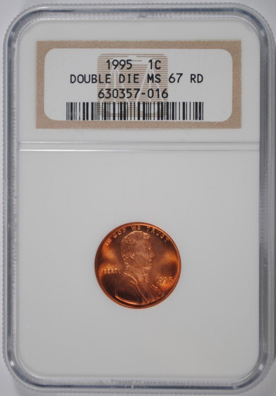1995 DOUBLE DIE LINCOLN CENT, NGC MS-67 RED