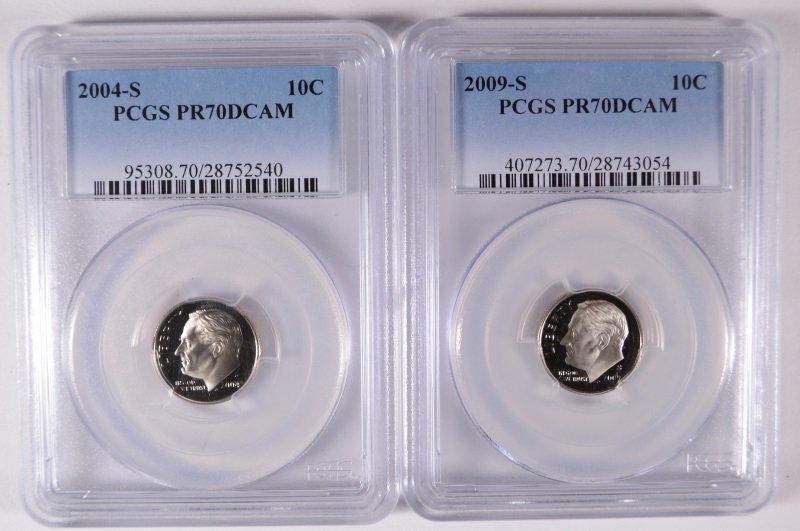 2004-S & 09-S ROOSEVELT DIMES PCGS PR-70 DCAM