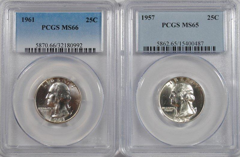 1957 WASHINGTON QUARTER, PCGS MS-65 & 1961 WASHINGTON