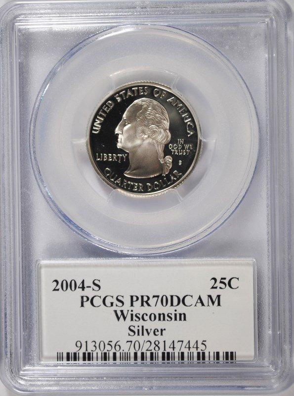 2004-S WISCONSIN SILVER STATE QUARTER,. PCGS  PR-70