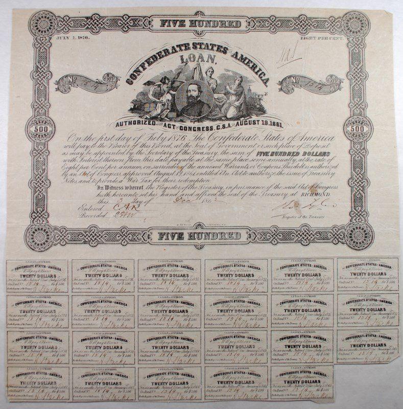 1861 CSA $500 BOND, VF+ CR67/B98 WITH 23 COUPONS