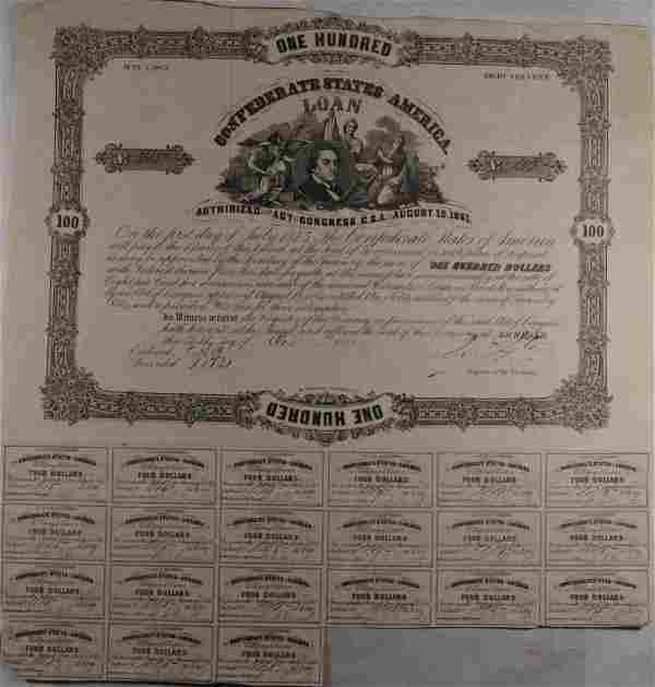 1861 $100.00 CSA BOND, VF WITH 21 COUPONS, CR-39/B-92