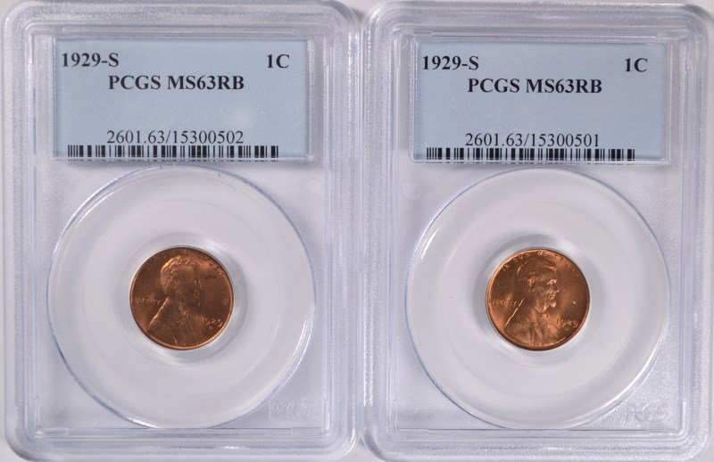 ( 2 ) 1929-S LINCOLN CENTS, PCGS MS-63 RB