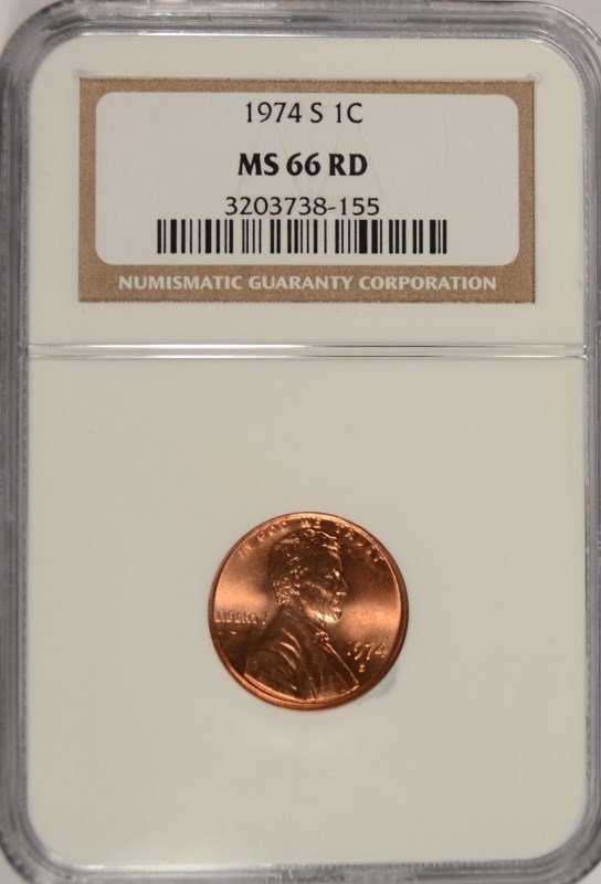 1974-D LINCOLN CENT NGC MS-66 RD ( NGC ERROR IN