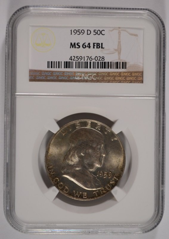 1959-D FRANKLIN HALF DOLLAR, NGC MS-64 FBL