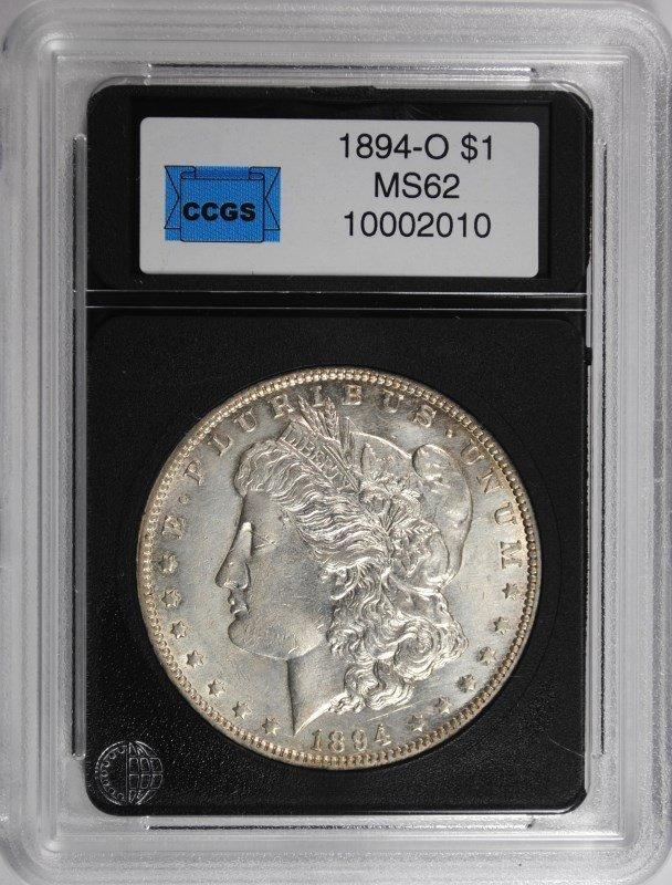 1894-O MORGAN DOLLAR CCGS CH BU, WHITE, KEY DATE