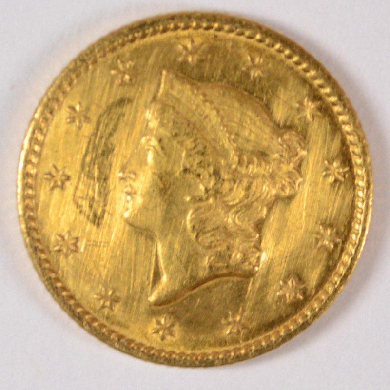 1849-C $1.00 GOLD AU BU LIGHT MARKS OBVERSE, VERY RARE