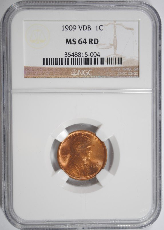 1909 VDB LINCOLN CENT, NGC MS-64 RED