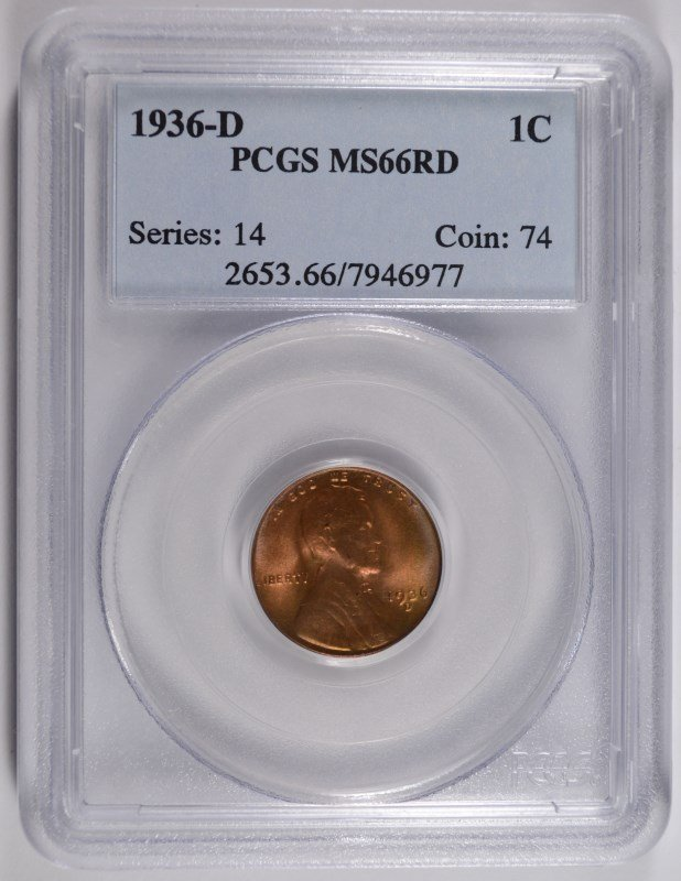 1936-D LINCOLN CENT, PCGS MS-66 RED