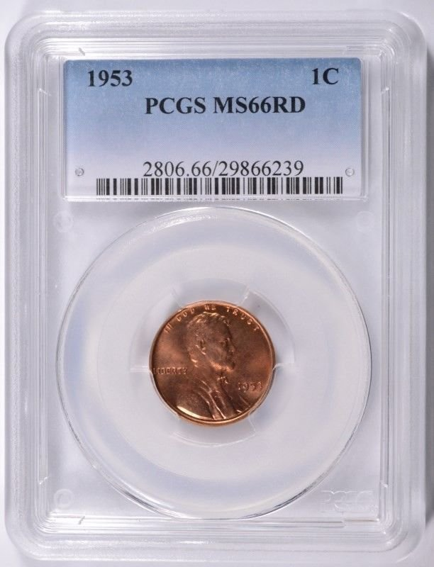 1953 LINCOLN CENT, PCGS MS-66 RED