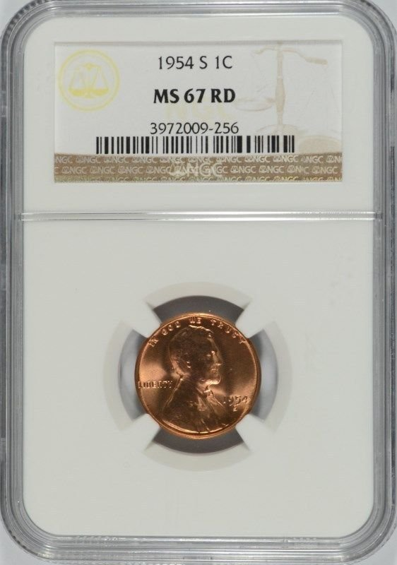 1954-S LINCOLN CENT NGC MS-67 RED