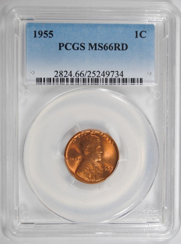 1955 LINCOLN CENT, PCGS MS-66 RED!