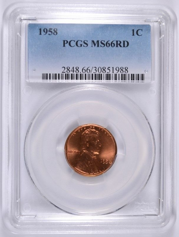 1958 Lincoln Cent PCGS MS66 RED