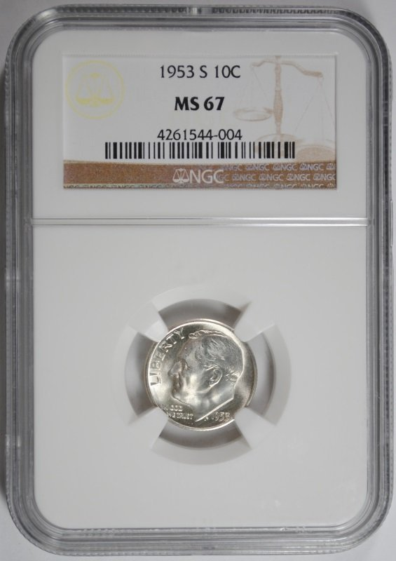 1953-S ROOSEVELT DIME, NGC MS-67