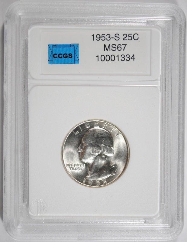 1953-S WASHINGTON QUARTER, CCGS SUPERB GEM BU+