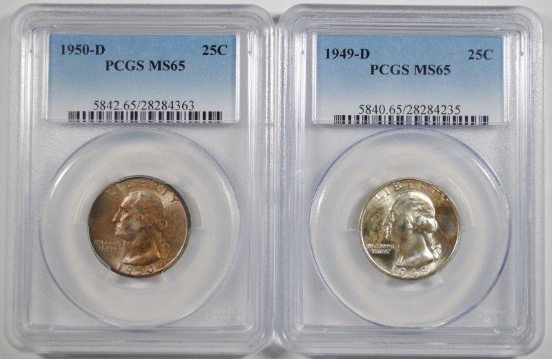 2 WASHINGTON QUARTERS 1949-D, 50-D PCGS MS-65