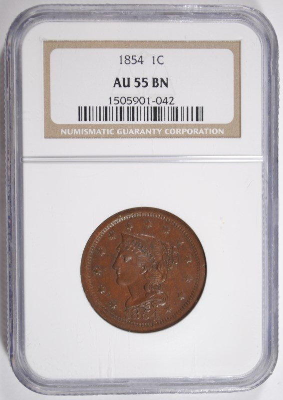 1854 LARGE CENT NGC AU-55 BN BEAUTIFUL!