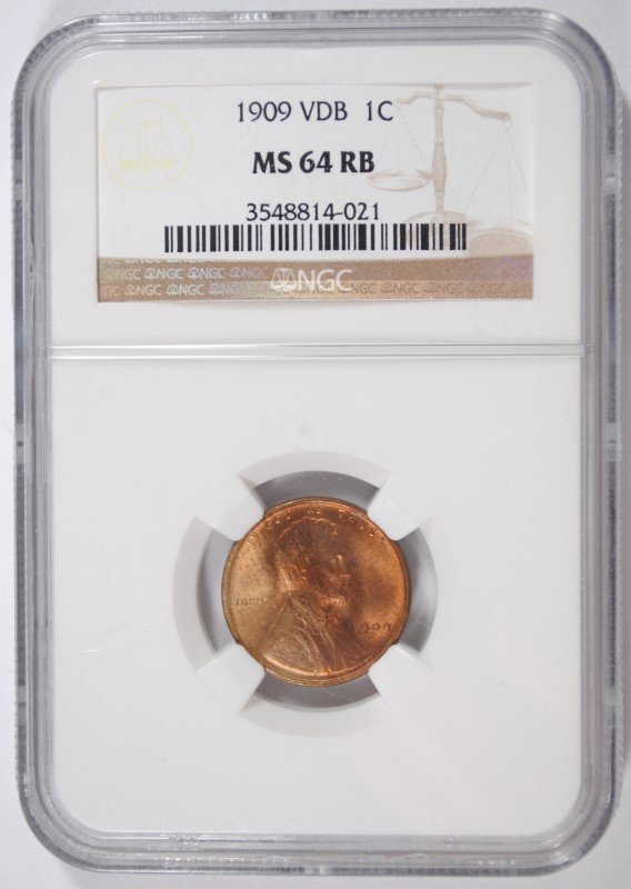 1909 VDB LINCOLN CENT, NGC MS-64 RED BROWN