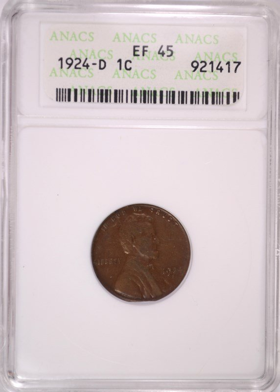 1924-D LINCOLN CENT, ANACS EF/AU-45