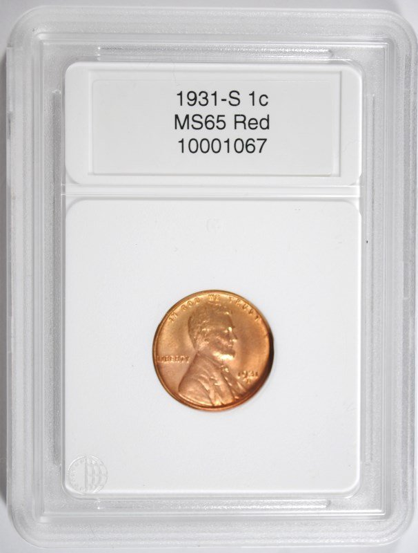 1931-S LINCOLN CENT, CCGS GEM BU RED  KEY DATE COIN!