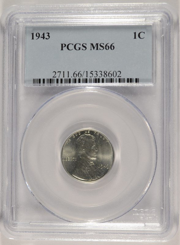 1943 LINCOLN STEEL CENT, PCGS MS-66