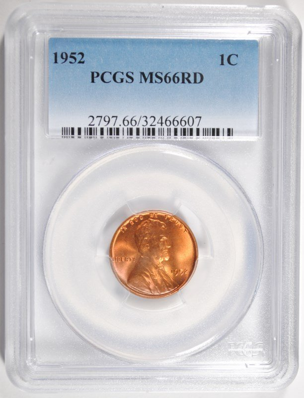 1952 LINCOLN CENT PCGS MS66 RD