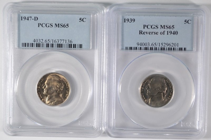 1939 REVERSE OF 1940 & 1947-D JEFFERSON NICKELS PCGS