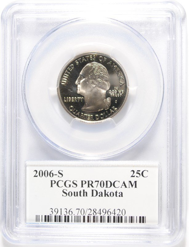 2006-S SOUTH DAKOTA STATE QUARTER, PCGS PR-70 DCAM