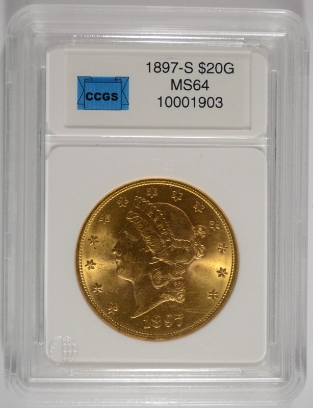 1897-S $20.00 GOLD LIBERTY, CCGS CHOICE BU  RARE DATE